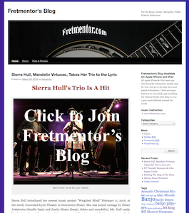 Fretmentor's Blog offers many interesting music related articles including but not limited to concert reviews and music theory
