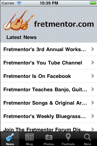 Fretmentor's Mobile App Screen Shot